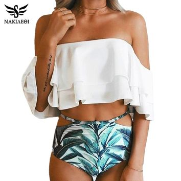 NAKIAEOI Bikini High Waist Swimsuit 2018 New Ruffle Vintage Bikinis Women Swimwear Bandeau Solid Top Print Bottom Bathing Suits