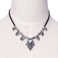 Geometric Pendant Choker Necklace with Stone