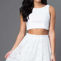 Two Piece White Graduation Dress