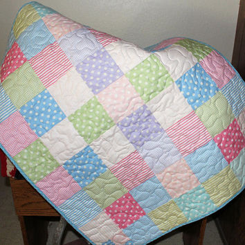 Pastel Charms Baby Quilt -  Baby Girl Quilt, Blue, Green, Pink and Lavender Baby Shower Gift, Nursery Quilt, Polka Dot Quilted Baby Blanket