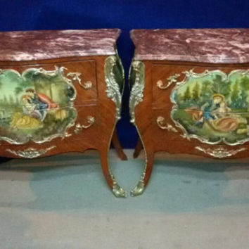 French Commode Louis XVI Handpainted Vie Martin Painting Circa 1880 (PAIR) Original Marble Top French Gardens Scenes Original Marble Commode