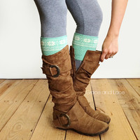 Patterned Boot Cuff - MINT SNOWFLAKE boot cuff - intarsia knit boot topper faux legwarmers sock tops knit leg warmers boot warmers