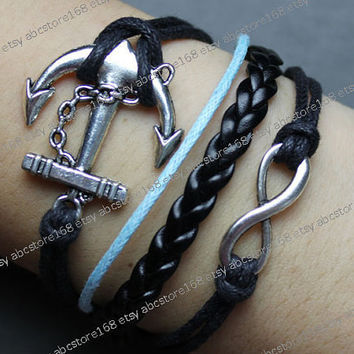 Anchor Charm Bracelet-infinity bracelet-karma bracelet-black rope bracelet, blue rope,black braided leather bracelet