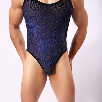 Howe Translucent chrysanthemum pattern flocking men sexy lingerie shapewear Sexy Mens Underwear Men's Bodysuits Leotard Bodywear