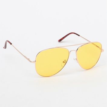 PacSun Aviator Yellow Lens Sunglasses at PacSun.com