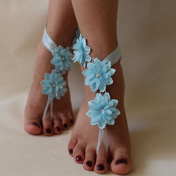 Blue Lace Barefoot Sandals, Bridal Lace Shoes , Foot jewelry,Wedding Shoes, flower Anklet , Belly Dance