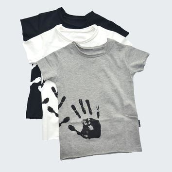 Boys T-shirts Cotton Hand Print Girls Tops Skull Patch Splash Tees Shirts Clothes For Toddlers Baby Tops 2017 nununu Style