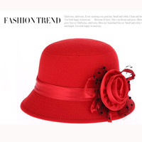 New Autumn and Winter Elegant Women's Fashion Cap Ladies Flower Rose Bucket Hat Women Small Fedoras Hat Cloche Headwear = 1958275396