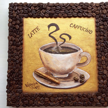 FREE SHIPPING Cup Of Coffee coffee beans mixed media 3D acrylic painting coffee painting coffee gift idea coffee beans art birthday gift