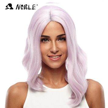 Noble Wavy Wave Lace Front Wigs 20 Inch Long Pink Kanekalon Synthetic Cosplay Wigs For Black Women Heat Resistant Free Shipping