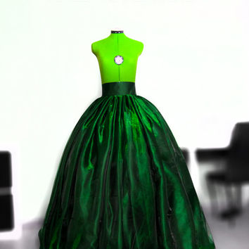 Emerald green organza skirt Ball gown Princess gown Queen gown Green satin skirt Full maxi skirt Prom skirt Wedding gown Crinoline Petticoat