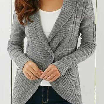 Grey Irregular Turndown Collar Fashion Cardigan Sweater
