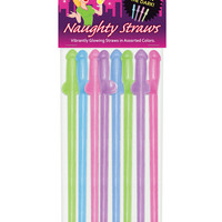 Glow in the Dark Penis Straws - Asst. Colors Pack of 8
