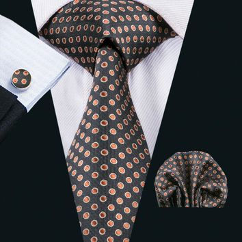 LS-1542 Barry.Wang Classic Men`s Tie 100% Silk Brown Polka Dot Necktie Hanky Cufflink Set For Men`s Wedding Party Business