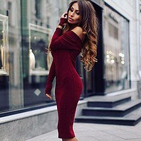 Women Simple Fashion Long Sleeve Off Shoulder Solid Color Bodycon Dress