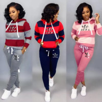 Adidas Women Fashion Letter Pattern Print Long Sleeve Trousers Set Two-Piece Sportswear