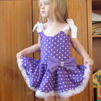 Toddler Party Dress, Girls Party dress, Baby Dress, Purple Toddler dress, Polka Dots Dress, Purple party dress, Birthday Dress,