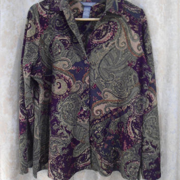 Size XL Button Down Paisley Sparkle Shirt Purple Green Beige Red Paisley 80's 90's Vintage Clothing