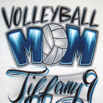 Airbrush T Shirt Volleyball MOM or Volleyball DAD With Name/Number, Price is for ONE Shirt Only, Volleyball Shirt, Mom Shirt, Dad Shirt