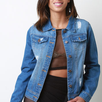 Faded Distressed Button Up Denim Jacket