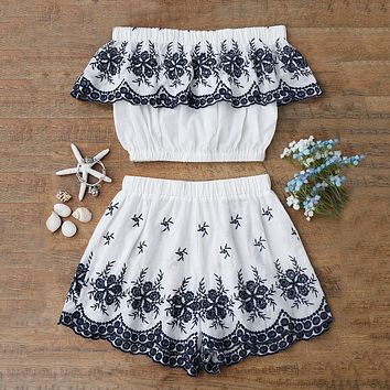 ZAFUL Women Summer Two Piece Set Women Suits Off Shoulder Embroidered Ruffles Crop Top With Shorts Summer Women Sets