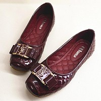 YSL Summer Spring Autumn Women Flats Fashion Boat Shoes Woman Casual Brand Single Shoes Wine red