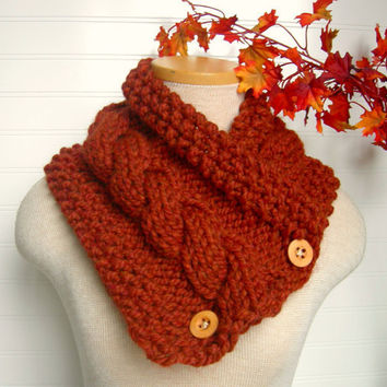 Windy City Cabled Cowl in SPICE Burnt Orange by WindyCityKnits
