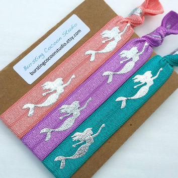 Mermaid hair ties, set of 3, coral, lilac, jade green hair ties, silver metallic mermaid, FOE, foldover elastic, mermaid ponytail holders