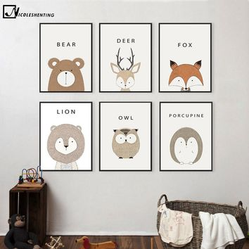 NICOLESHENTING Cartoon Animal Deer Lion Bear Minimalist Art Canvas Poster Painting Wall Picture Print Modern Home Kid Room Decor