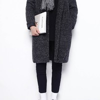 Unisex Oversized Cocoon Coat | Dark Grey