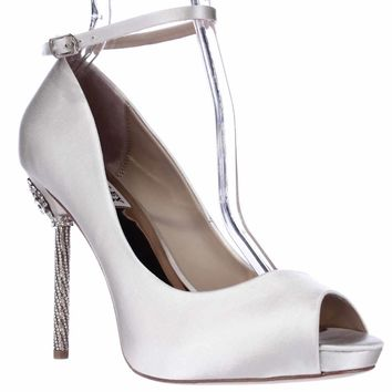 Badgley Mischka Diego Ankle Strap Peep Toe Jeweled Heels, Ivory, 7 US