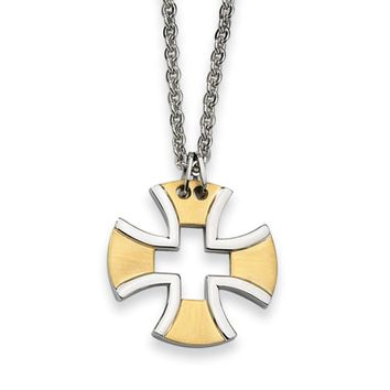 Stainless Steel and Gold Tone Maltese Cross Necklace - 18 Inch