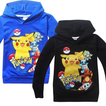 New Design Pokemon Go Boys Sweatshirt Fall Pikachu Kids Hoodies T-shirt Cartoon Pokemon Shirt For Teens Monya