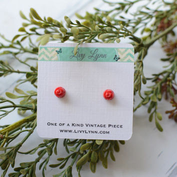 Victorian Era Small Red Glass Rose Studs - Handmade over 100 years ago