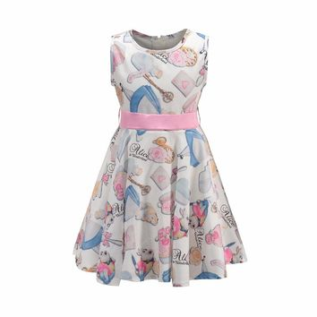 BRWCF Flower Dress For Girls Snow White Prints Princess Dress for Party and Wedding Toddler Girls Summer Clothing 2-8 Years