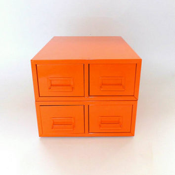 Stacking Orange Essential Oils Drawer File Card Storage Cabinet Vintage Catalog Campaign Rack Office Makeup Case Nail Polish Metal Organizer