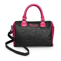 Skull Embossed Color Block Bag by Loungefly (Black/Pink)