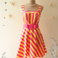 HOT SALE - Pink Yellow stripe sundress summer dress retro dress strap dress vintage inspired dress beach pink party dress - size xs-s