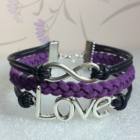 Infinity Bracelet.Love Symbol Bracelet,Black Wax Cords and Purple  Braid bracelet.