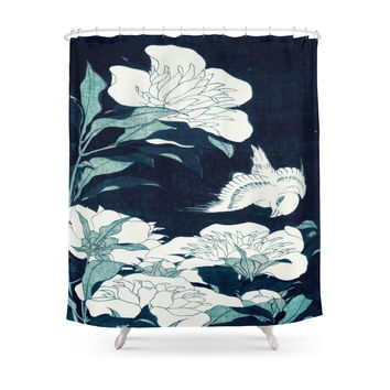 Society6 JAPANESE FLOWERS Shower Curtains