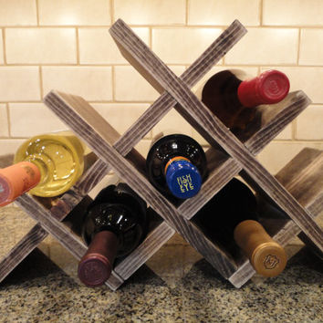 Wine Rack Table Top (8 Bottles), Wood Wine Rack, Rustic Wine Rack, Handcrafted Wine Rack, Tabletop Wine Rack, Wine Bottle Storage, Christmas