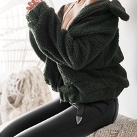 TEDDY COAT - FOREST GREEN