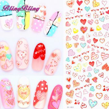 Blingbling 2 sheet Cute Nail Water Decals Heart Shaped Style Beauty Nail art Stickers Wrap Tattoo Decals Valentins Decoration