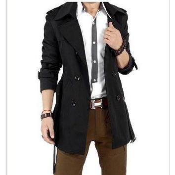 Spring Autumn Double Breasted Trench Coat Men Solid Slim Fit Men Casual Jacket Windbreaker Long Trenchcoat With Belt Black Khaki