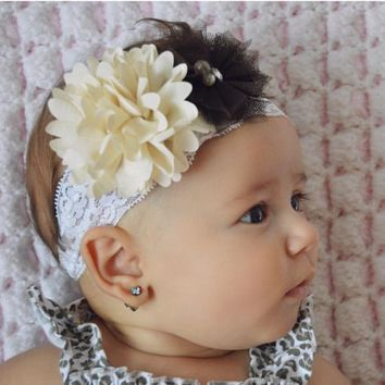 Beige Chiffon and Brown Tulle Lace Baby Girl Headband!