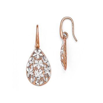 Floral Filigree Teardrop Dangle Rose Gold Tone Plated Silver Earrings