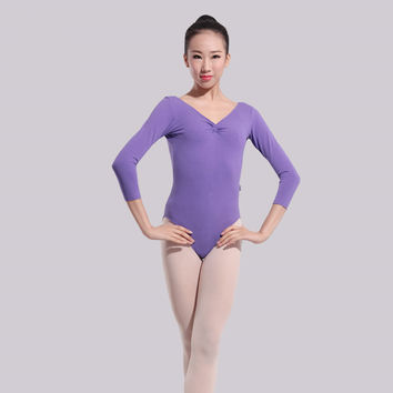 Gymnastics leotard ballet tutu dance new performance red new long sleeved gymnastics leotard cotton Lycra sling Jumpsuit