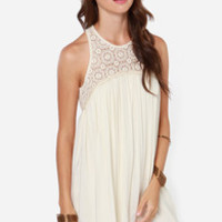 Harmonious Happenings Cream Crochet Dress