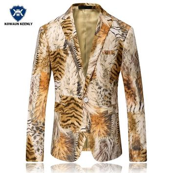 Men Blazer 2017 Tiger Pattern Mens Printed Blazer Coat Design Velvet Suit Jacket Casual Floral Blazers Jacket Stage Wear Singers