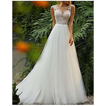 A-Line Jewel Neck Sweep / Brush Train Tulle Regular Straps Mordern Illusion Detail Made-To-Measure Wedding Dresses with Lace Insert 2020